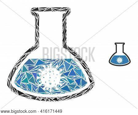 Triangle Mosaic Covid Analysis Flask Icon. Covid Analysis Flask Vector Mosaic Icon Of Triangle Eleme
