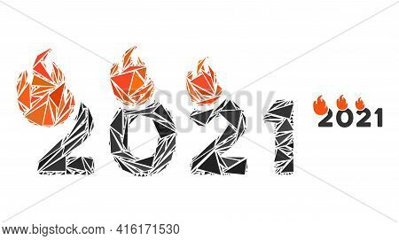 Triangle Mosaic Fired 2021 Year Icon. Fired 2021 Year Vector Mosaic Icon Of Triangle Items Which Hav