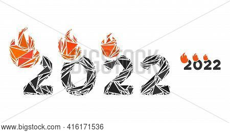 Triangle Mosaic Fired 2022 Year Icon. Fired 2022 Year Vector Mosaic Icon Of Triangle Elements Which