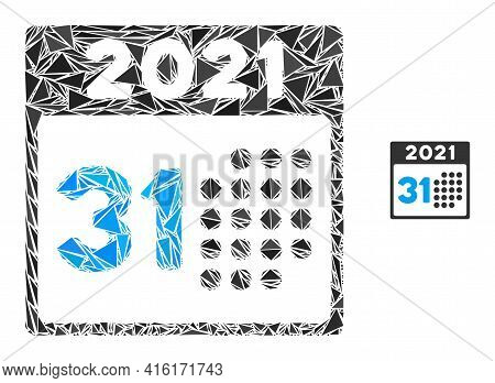 Triangle Mosaic Last 2021 Day Icon. Last 2021 Day Vector Mosaic Icon Of Triangle Elements Which Have