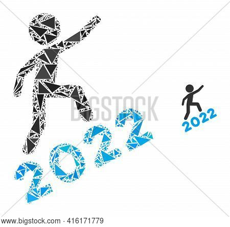 Triangle Mosaic Man Climbing 2022 Icon. Man Climbing 2022 Vector Mosaic Icon Of Triangle Items Which