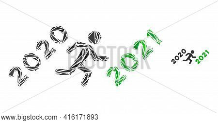 Triangle Mosaic Man Run To 2021 Icon. Man Run To 2021 Vector Mosaic Icon Of Triangle Elements Which