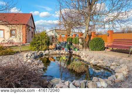 Mature Adult Caucasian Man Cleans Kneeling Fish Pond With Hands From Water Plants And Falling Leaves