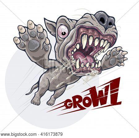 Cartoon Angry Growling Dog Attacks In Jump