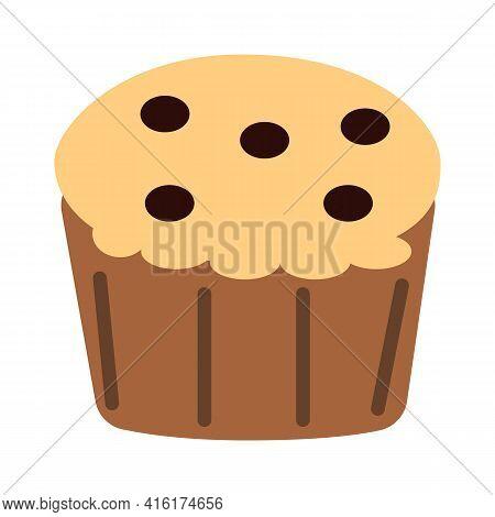 Muffin Icon On White Background. Muffin Logo. Muffin Chocolate Sign. Muffin Chocolate Chips Symbol.