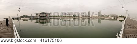 Lisbon, Portugal, October 21: Panoramic View To The Embankment Of The Parque Das Nacoes At The Expo