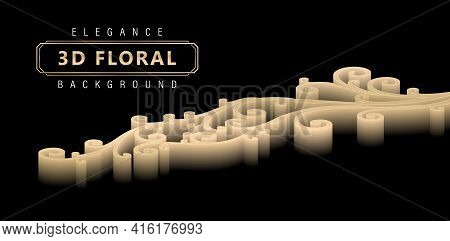 Elegance 3d Floral Backgrounds With Gradients Golds Of Isolated Black Backgrounds, Three Dimensional
