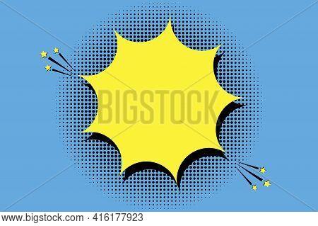 Yellow Comic Explosion In Cartoon Style. Speech Bubble. Blue Background. Stock Image. Vector Illustr