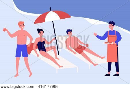 Friends On Beach Or At Swimming Pool. Woman And Man Lying On Sunbeds, Man In Apron, Food, Drinks Fla