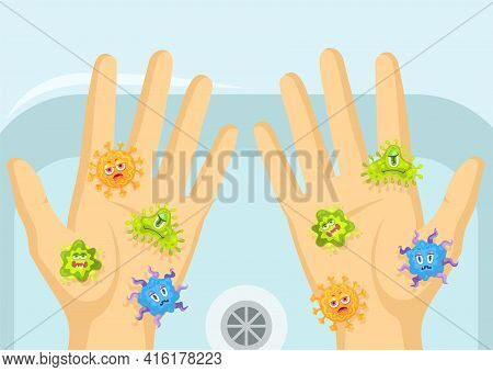 Cartoon Angry Virus Or Bacteria Characters On Dirty Hands. Flat Vector Illustration. Funny Infection