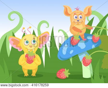 Cartoon Tiny Funny Monsters Collecting Berries In Grass. Flat Vector Illustration. Happy Colorful Cr