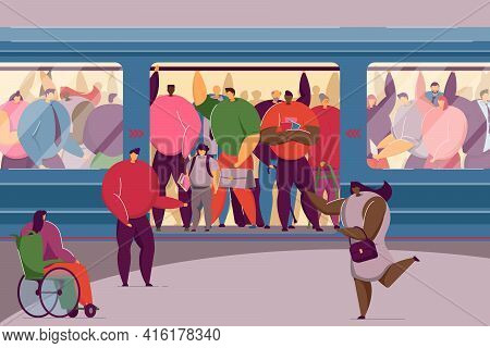 Disabled Woman Squeezing Into Overcrowded Train. Crowd Of People In Metro Flat Vector Illustration.