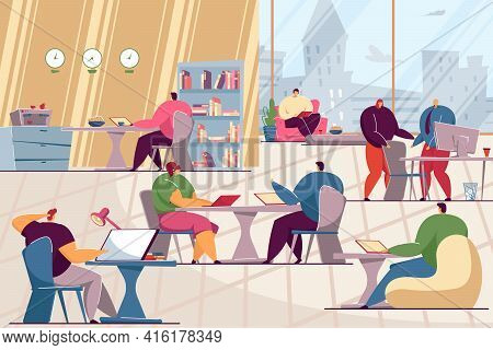 Team Of People With Computers Sharing Working Space. Office Workers At Workplace Flat Vector Illustr