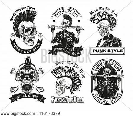 Set Of Vintage Black And White Punk Skeleton Sketches. Flat Vector Illustration. Graphic Sketches Of