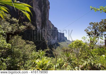 Sheer Cliffs Of Mount Roraima - Landscape With Blue Sky And Clouds Background. View On The Gran Saba