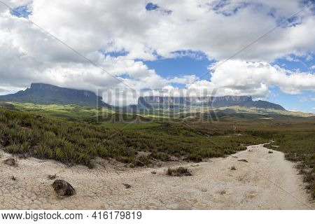 Walking Path Going To Mt Roraima Or Kukenan Tepui Early With Clouds And Blue Sky, Gran Sabana In Ven