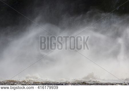 Detailed Flowing Water From Waterfalls, Canaima National Park, Venezuela, South America 2015