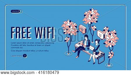 Free Wifi Isometric Landing Page, People Sitting On Bench In Park With Hotspot Public Access Zone Us