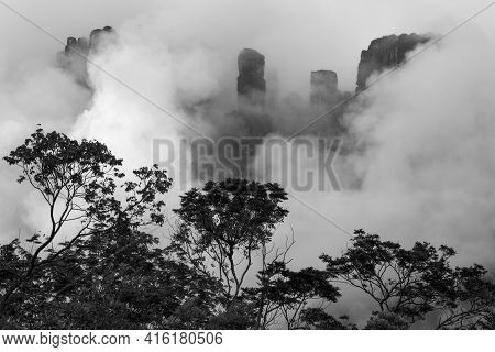 Kerepakupai Vena Or Angel Falls, Salto Angel In The Clouds In Black And White. The Worlds Highest Wa