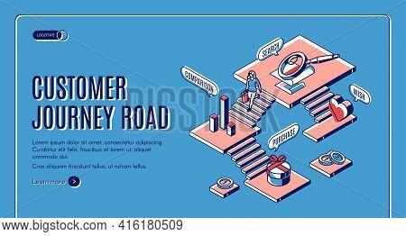 Customer Journey Road Isometric Landing Page. Stages Of Buying Process Since Wish To Purchase. Buyer