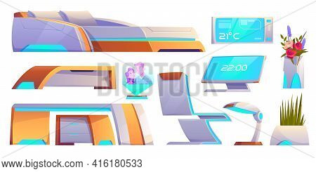 Futuristic Bedroom Furniture Set, Neon Glowing Objects For Apartment Interior. Bed, Chair, Table, Pc