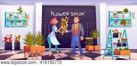 Man Buying Bouquet In Flower Shop, Saleswoman And Customer In Floristic Store With Potted Plants On