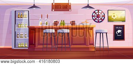 Beer Bar Or Pub, Empty Interior With Bottles And Cups On Wooden Desk, High Stools, Drinks In Refrige
