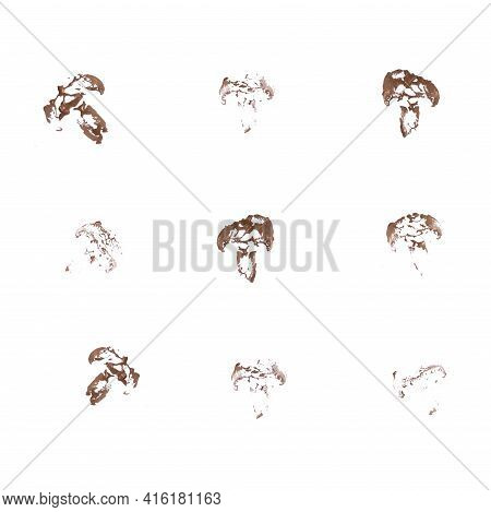 Seamless Pattern From Acrylic Paint Imprint Of Half Of A Mushroom Champignon. Abstract Background. C