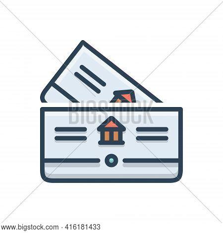 Color Illustration Icon For Bankbook Account Deposit Passbook