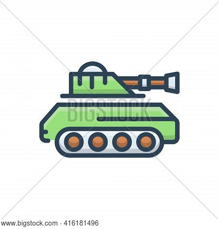 Color Illustration Icon For Tank  Army   Battle Vehicle Gulf Attack Fight Vehicle