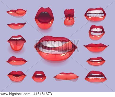 Woman Mouth Set. Red Sexy Lips Expressing Different Emotions As Happy Smiling, Seduction, Show Tongu