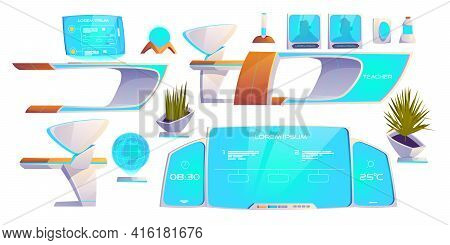 Futuristic Classroom Stuff Set. Modern Furniture And Supplies Isolated On White Background. Neon Dig
