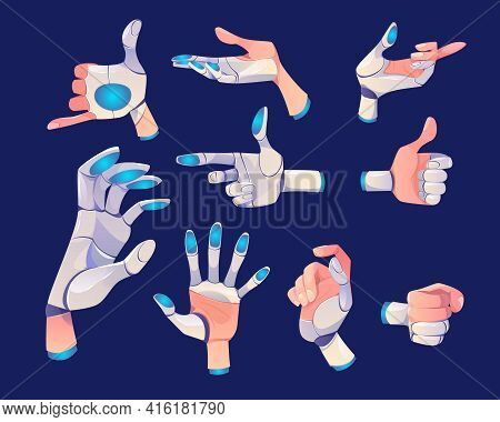 Robot Hand In Different Gestures Isolated On Dark Background. Vector Set Of Cyborg Arm Or Bionic Pro