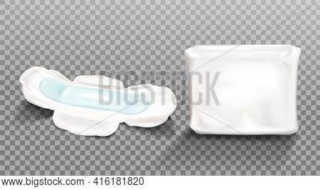 Sanitary Napkin And Blank Plastic Package Isolated On Transparent Background Feminine Hygienic Pads,