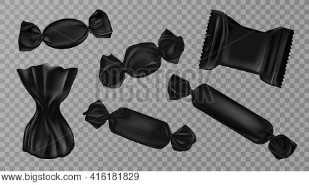 Black Candy Wrappers Set Isolated On Transparent Background. Blank Sweets Packages For Lollipops, Ch
