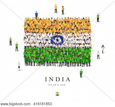 A Large Group Of People Are Standing In Orange, White, Green And Blue Robes, Symbolizing The Flag Of