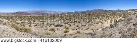 Incredible Panorama Of The Andean Colored Mountains Near Cachi With A Clear Blue Sky. Ruta 40, Salta