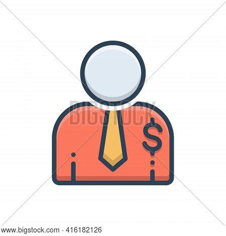 Color Illustration Icon For Salesperson  Salesman Person Agent