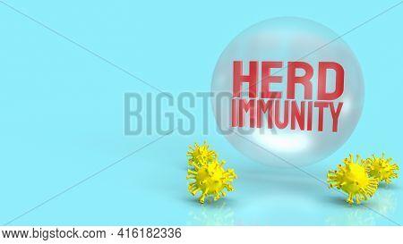 Red Herd Immunity Text For Virus Crisis Concept 3d Rendering