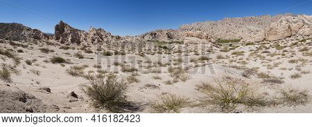 Panorama Of Abstract Rock Formations With Blue Sky Along The Famous Ruta 40 (route 40) Within Calcha