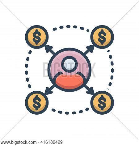 Color Illustration Icon For Borrower Loan Bribery Lender Loan Debt