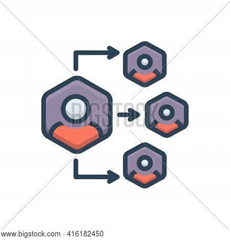 Color Illustration Icon For Delegation Organization Authorize Delegation Authority Collaboration