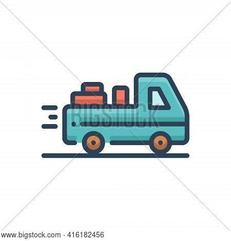 Color Illustration Icon For Deliverable Deliver Courier Occupation Package Parcel Supplier