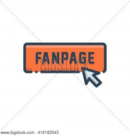 Color Illustration Icon For Fanpage Button Click Subscribe Enrol