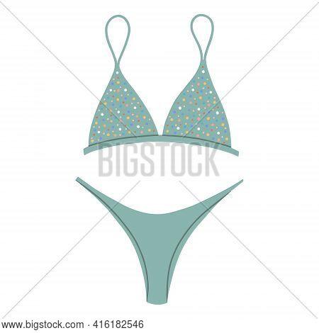 Womens Two-piece Swimsuit With A Striped Print. Modern Fashion Stylish Bikini Swimsuit. Vector Flat