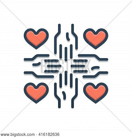 Color Illustration Icon For Voluntary Volunteer Unconstrained Spontaneous Volunteering Hand Drawn Pe