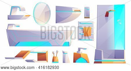 Futuristic Bathroom Furniture And Stuff Set, Neon Glowing Objects For Apartment Interior. Bath Tub,