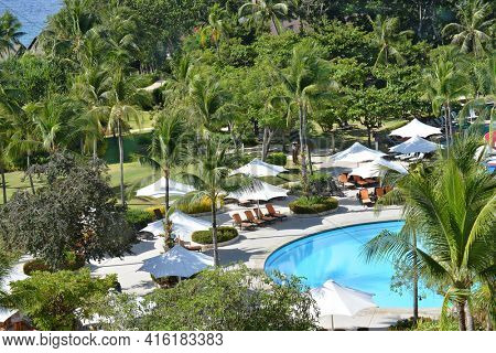 CEBU, PHILIPPINES - APRIL 5, 2016: Shangri-La Mactan Resort and Spa grounds. The luxury resort  features a marine sanctuary.