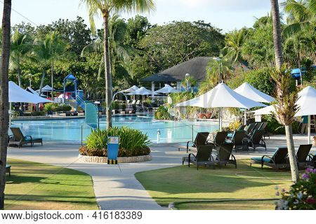 CEBU, PHILIPPINES - APRIL 5, 2016: Shangri-La Mactan Resort and Spa pool. The luxury resort