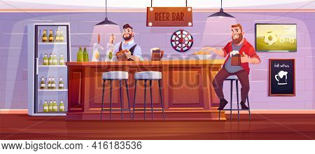 Man In Beer Bar. Visitor At Pub Sit On High Stool At Wooden Desk With Barman Pouring Drink To Cup, B
